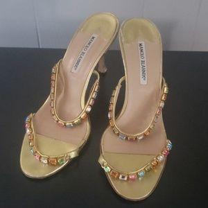 MANOLO BLAHNIK Jeweled Heels Size 38/8
